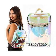 New Designer Hologram Rainbow Effect Transparent Backpack Clear Bag Purse