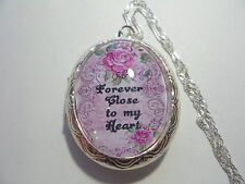 "CREAMATION LOCKET- FOREVER CLOSE TO MY HEART.  26"" CHAIN"