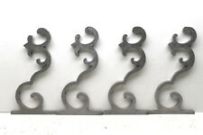 4 pc Vintage Raw Aluminum Fretwork Design Brackets Shelf Supports Stempunk Decor