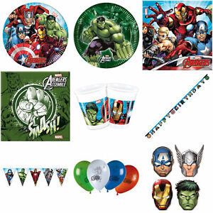 Marvel's Avengers Birthday Party Decorations Tableware Balloons Plates Bunting