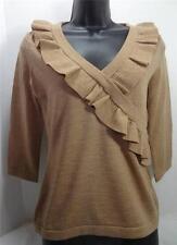 BANANA REPUBLIC tan 100% merino wool knit ruffle v-neck sweater top petite S