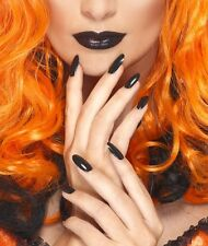 Halloween Fancy Dress Nail Polish & Lipstick Witch Goth Black by Smiffys New