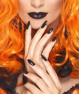 Halloween Fancy Dress Nail Polish & Lipstick Witch Goth Black by Smiffys