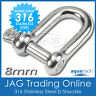 8mm 316 STAINLESS STEEL STANDARD DEE D-SHACKLE M8-Marine/Boat/Sailing/Shade/Sail