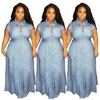 Fashion Women New Buttons Sleeveless Oversize Casual Long Denim Dress Summer
