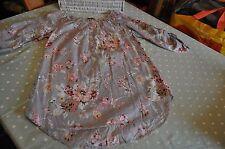Pretty vintage floral print cotton smock top boho size 10 grey pink white