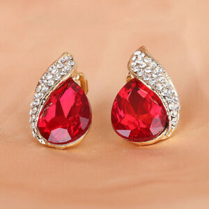 Fashion Vintage Earrings Ear Studs Peacock Red Gems with Clear Crystal