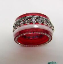 New Design Sterling Silver CZ Ceramic & Red Acrylic Swiveling Band / Ring