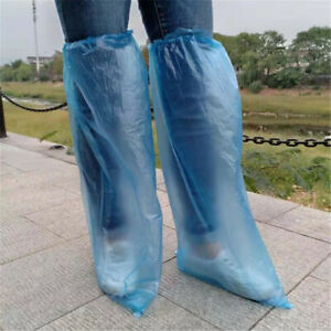 10pcs Disposable Long Shoe Cover Waterproof Anti Slip Knee Boots Cover Overshoes