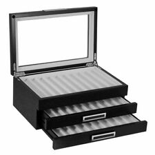 30 Piece Black Ebony Wood Three Level Pen Display Case with Glass Window
