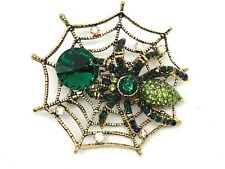 spider web brooch green HalloweenGift novelty gift  jewelry gold tone fun #9