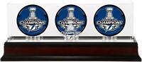 Tampa Bay Lightning 2020 Stanley Cup Champs Mahogany Three Puck Case - Fanatics