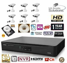 12CH Security Network NVR System Package & 2TB HD & 6 IP Cameras Two Way Audio