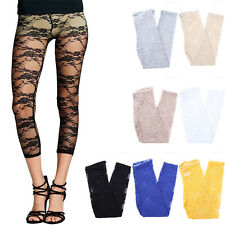 Womens Capri Length Full Floral Lace Mesh Elastic Waistband Leggings S M L