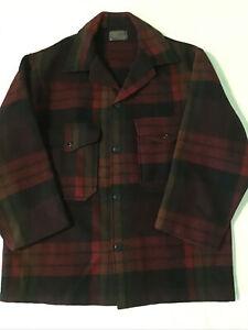 Vintage PENDLETON Mackinaw Jacket Wool Coat ~ Size Small ~ Red Plaid ~ Altered