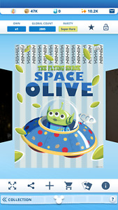 Topps Disney Collect Alien Toy Story Flying Snack Tin Poster 2021 S1 Super Rare