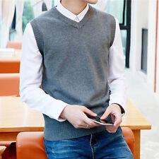 Men's Sweater Knitted Vest Warm Wool V-Neck Sleeveless Pullover Tops Shirt M-2XL