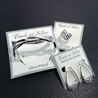 TOUCH OF SILVER Earrings Size 7 Ring Bracelet Set Silver Plated NEW TAGS