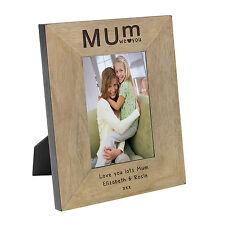 Personalised Mum I/We Love You Oak Wood Veneer Picture Photo Frame 6x4 Gift Idea