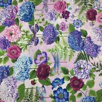 DragonFly Garden Peony Pink Hydrangea Bouquets 100% Cotton Quilting Fabric BTY