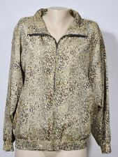 RHODA LYNNE Tan/Brown/Black Animal Print Silk Jacket Medium Lined Shoulder Pads