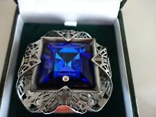 Guernsey pewter brooch with large Blue Gemstone -albany jewellers -boxed   (TR)