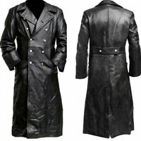 Men Full Length Leather Gothic Steampunk Outwear Long Jacket Trench Coat Costume
