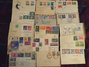 World Airmail Postal Covers JAPAN USA ISRAEL POLAND PAPUEA SPAIN INDIA 16 COVERS