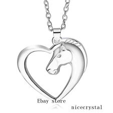 Horse Head Heart Style Pendent With 20' Necklace Chain Fashion Jewelry Gift
