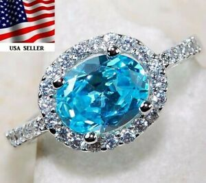 2CT Aquamarine & White Topaz 925 Solid Sterling Silver Ring Jewelry Sz 7, M1