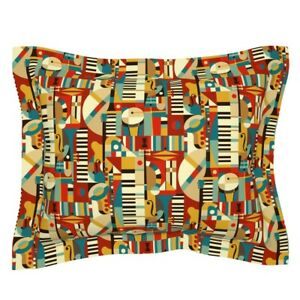 Geometric Jazz Musical Abstract Mid Century Modern Retro Pillow Sham by Roostery