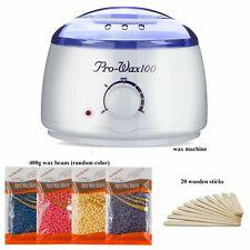 New Hot Wax Warmer Heater Hair Removal Kit + 4 Bag Waxing Hard Beans & 20 Sticks
