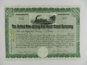 Vintage 1925 United New Jersey Rail Road & Canal Co.Green Stock Certificate