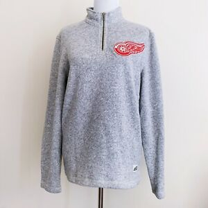 NWT New Adidas Detroit Red Wings NHL Hockey Quarter Zip Sweater Small Gray