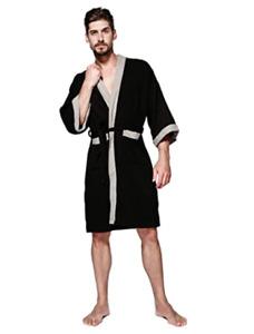 Albornoz type kimono bathrobe/nightgown,for cotton man  with pocket