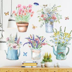 Wall Sticker Flowers Potted Plant Garden Removable Vinyl Living Room Art Sticker