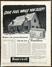 1948 Honeywell Chronotherm Clock Thermostat Print Ad Save Fuel While You Sleep