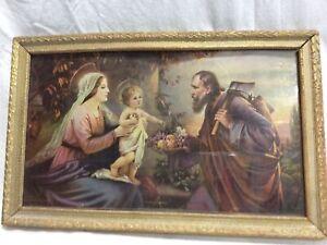 Vtg The Holy Family Bedroom Picture Mary Josef Baby Jesus Joseph Frame 13x8 1/2