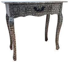 Black & Silver Console Desk Bedroom Table Metal Hammered 1 Drawer Retro Storage