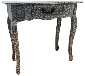 Black & Silver Console Desk Bedroom Table Metal Hammered 1 Drawer Retro Storage