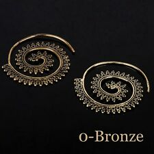 Spiral Brass Tribal Hoop Earrings Vintage Womens Lady Circles Round Jewelry NEW