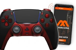 Black/Red Smart Rapid Fire Custom PRO Modded Controller compatible with PS5 FPS