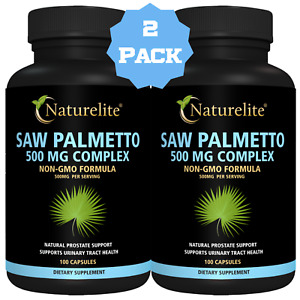Saw Palmetto 500mg, [Prostate Health & Urinary Flow Support] ⭐ 2 X 100 Count.