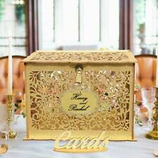 DIY Gold Glitter Wishing Well Card Box Wood Carved Rustic Wedding Party Decor
