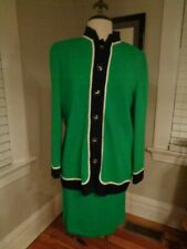 ST. JOHN COLLECTION kelly green & navy wool knit 2-piece suit women's size 6/8