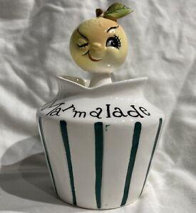 Vintage Anthropomorphic Winking Orange Marmalade Jelly Jar & Spoon Kitsch 1950s