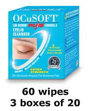 60 OCuSOFT Plus Extra Strength Anti-Bacterial Lid Wipes Blepharitis & Styes
