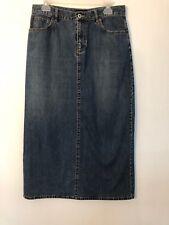 Ann Taylor Womens denim floor length skirt Sz 10P back split Special Edition