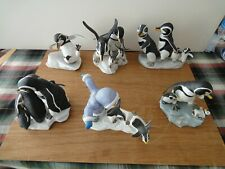 6 Franklin Mint Hand Painted Penguin figurines. Hand painted by J.P.Emblem.