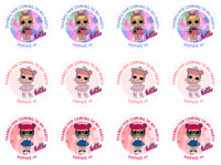 48 Personalised Party Bag Stickers LOL Dolls Sweet Bag Seals 40mm Labels